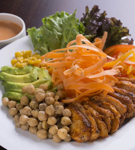 Chicken Hawaiian salad with chick peas sweet corn avocado