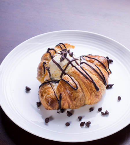Fresh Croissant with whipping cream choice ice cream