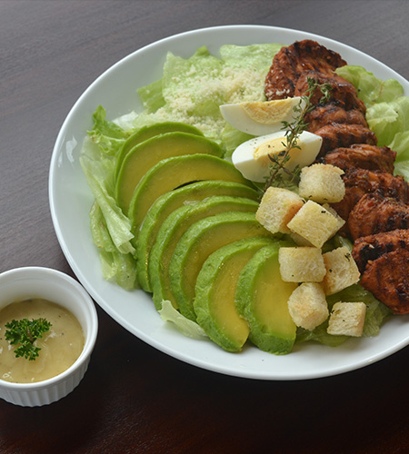 Grilled chicken with Caesar salad