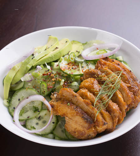 Spicy baked chicken with Asian cucumber salad